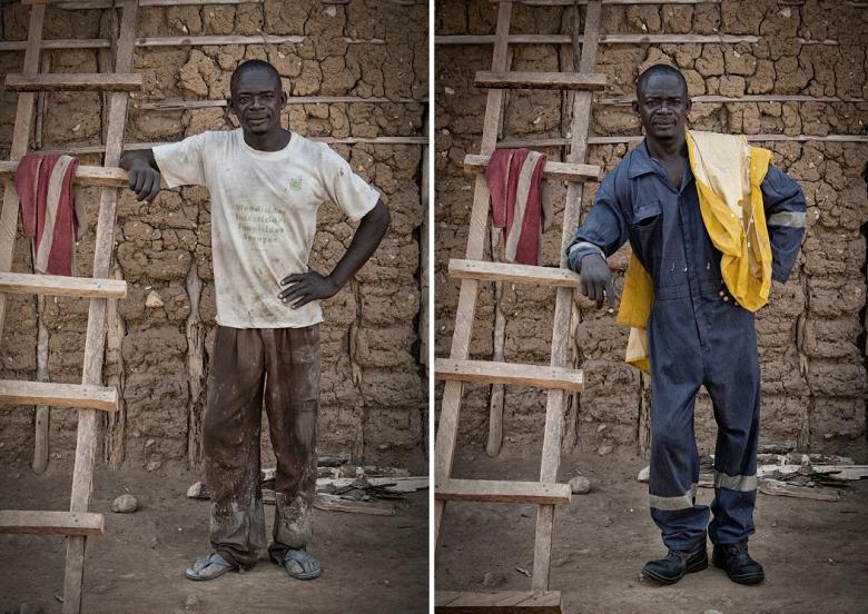 James Blamefull, mijnwerker in een kleine mijn in Ghana, met zijn oude en nieuwe werkkleding